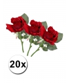 Bosje nep rozen rood 30 cm Kunstbloem 20x