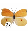 Decoratie vlinders 2 stuks geel/oranje 30 x 25 cm