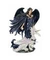Polystone beeldje Liliana blauw 20 cm