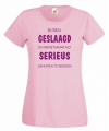 Geslaagd t-shirt roze voor dames