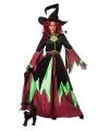 Heksen jurk rood/groen vrouwen