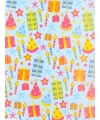 Geschenkpapier gekleurd feesthoedjes 70 x 200 cm