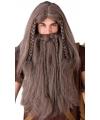 Vikingen verkleedpruik met baard bruin