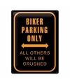 Metalen plaat voor aan de muur bikers parking only 30 x 40 cm