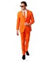 Luxe oranje kostuum inclusief das