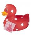 Verzamel badeend rood met hartjes 25 cm