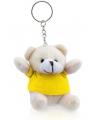 Pluche sleutelhanger teddybeer geel